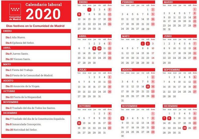 El Calendario Laboral De 2020 Recoge 12 Festivos Madridpress Periódico Digital De Noticias De Madrid España Y Mundo